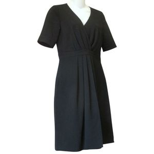 J CREW Black Gathered Crepe Dress Office